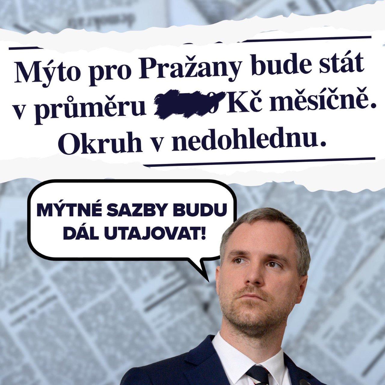 Pražská ODS: Primátor Hřib utajuje studii s ceníkem mýtného a snaží se od zavedení mýta odvést pozornost